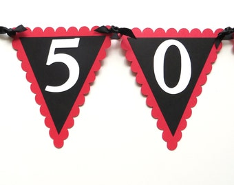 50th Birthday Banner - 50 ROCKS As Shown or Your choice of colors
