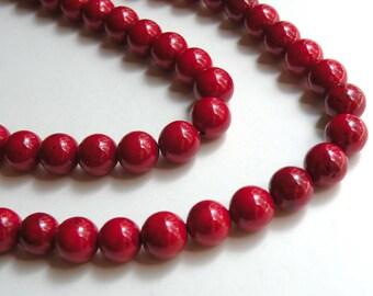 Crimson Red Riverstone beads round gemstone 10mm full strand 4304GS