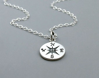 Silver Compass Necklace, Sterling, Graduation gift, Enjoy the Journey, Travel jewelry, Good Luck