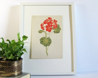 Red Geranium - 7x10 Signed Original Botanical Art - Vintage Gouache Watercolor Painting - Flower Wall Decor - Mid Century Spring Home Decor