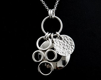 Sterling Silver Ring Charm Necklace - Silver Domed Disc Pendant - Sterling Silver Bubble Charm - Sterling Silver Hammered Disc Charm