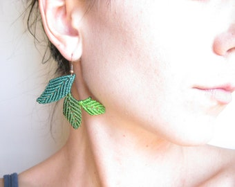 Leaf Earrings . Macrame Jewelry . Green Leaves . Elven Woodland Natural . Boho Hippie Chic . Botanical Fiber Jewelry . by raïz