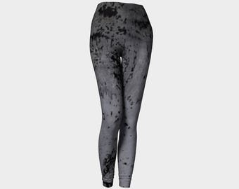 Goth leggings for women, grunge, black and gray, splatters, punk yoga pants by Felicianation Ink