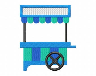 Cotton candy carnival fair cart machine embroidery design
