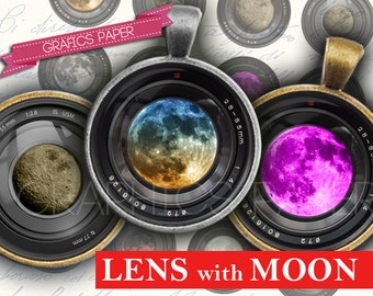 """Camera Lens whit Moon Digital collage sheet 1 inch, 25mm circles, 1.5"""", 1.25"""", 30mm Circles - Printable Images Instant Download- td154"""