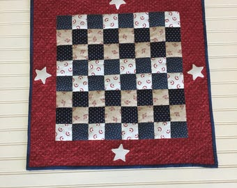 Americana Table Topper, Americana Table Runner, Quilted Table Topper, Primitive Americana,Patriotic Table Topper, Americana Checkerboard