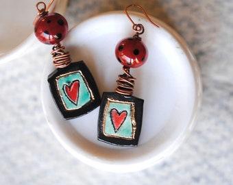 Heart Earrings, Polka Dot Earrings, Artisan Ceramic Earrings, Lampwork Glass Bead Earrings, Wire Wrapped Earrings, Boho Chic Earrings