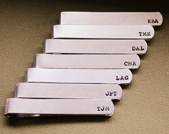 Personalized Tie Clip - Custom Groomsmen Gift - Hand Stamped Tie Bar - Father of the Bride and Groom - Dad or Grandpa - Wedding Gift