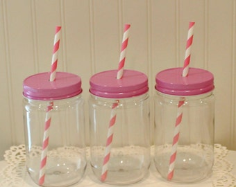 Plastic Mason Jars, 10 Plastic Mason Jars with Straw Hole Lid, FREE STRAWS, Mason Jars with Lids, Plastic Cup, Wedding Favors, Baby Shower