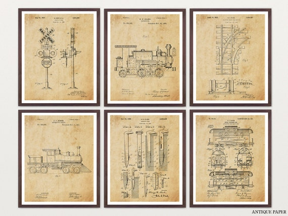 Train Patent Set - Railroad Patent - Train Art - Train Wall Art - Railroad Art - Caboose - Locomotive - Train Tracks - Rail Art - Old Trains