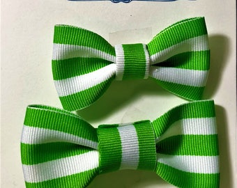 3 Green and White stripe Hair Bow