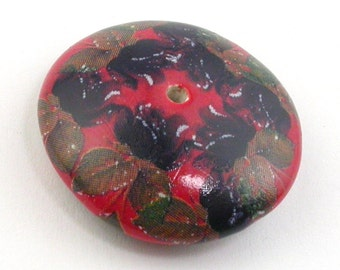 Ceramic beads, Handmade beads, lentil beads, blue flowers bead,  Cranberry Beads, red beads, cherry beads, Big Hole beads, flower beads