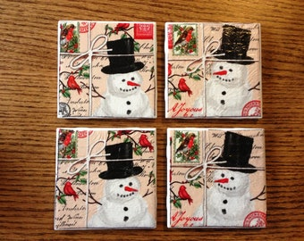 Set of 4 Jolly Christmas Snowman Tile Coasters