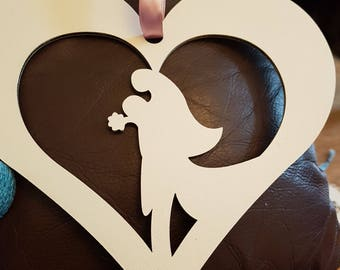 Wedding Heart Hamging, Bride and Groom Heart, Wooden Wedding Heart
