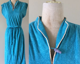 1970's Turquoise Blue Terrycloth Dress Size Small Medium by Maeberry Vintage