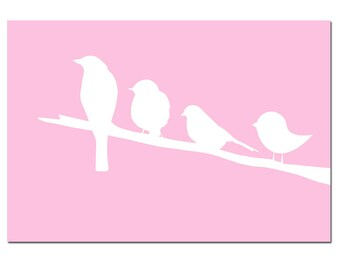 Birds on a Branch - 13x19 Nursery Art Print - CHOOSE YOUR COLORS - Shown in Pink, Yellow and More