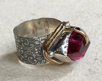 One Of A Kind ring, Raw Pink fuchsia quartz ring, organic ring, boho ring, cocktail ring, silver gold ring, statement ring - One dance R2363