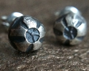 Silver Stud Earrings - Hollow Point Bullet - 6mm Sterling Silver Ball Stud Set - Rustic Industrial Unisex Men's or Women's Jewelry