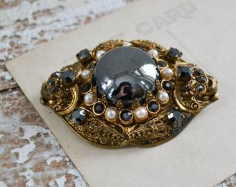 Vintage Gold Black and Pearl Filigree Brooch - German Costume Pin Gunmetal Stone