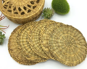 Vintage Wicker Coaster Set, Woven Coasters with Storage Box, Boho Decor, Set of 6, Round Coasters