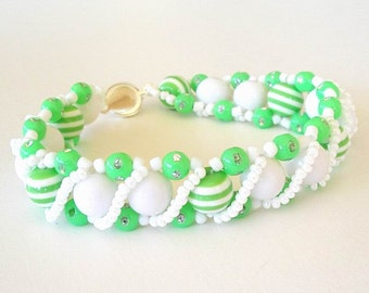Beaded Bracelet Jewelry Lime Green and White Stripes Yellow Green Acrylic Beads