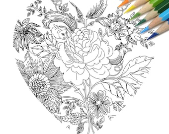 Heart with Flowers  DIY Print at home  Digital Download Colouring Page, Adult Coloring, Flowers, heart, line drawing,