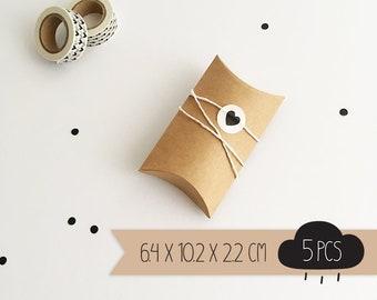 Pillow box / kraft brown / small / 6,4 x 10,2 x 2,2 cm / 5 pieces
