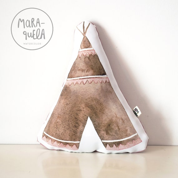 Cojín TIPI marrón y rosa / Brown and Pink Tepee Throw Pillow
