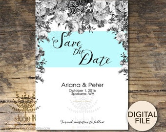 Save the date card, botanical wedding, floral save the date, Save the date printable, rustic save the date, PRINTABLE