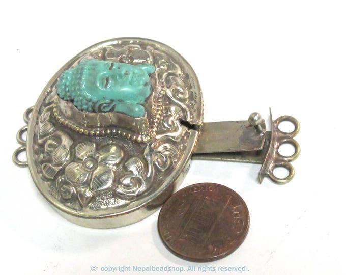 1 clasp - Large oval shape  ethnic Tibetan silver finish blue buddha box clasp pendant from Nepal - LN039C