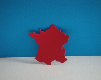 Cut map of France red for scrapbooking and card