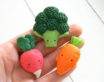 Set of 3 magnets kawaii vegetables in Fimo, broccoli, carrot, radish, Vegan, veggie, vegetables, broccoli, Carrot, Raditz, Magnets set