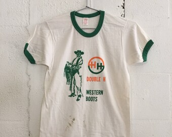 Very Rare 1960's Double H Western Boots Ringer T Shirt Midcentury Spaghetti Western Small