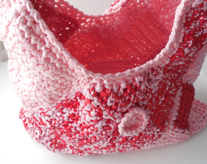 Pink and Red Crochet Purse - Shoulder Bag - Handmade Crochet- Unusual Purse - Ready to Ship