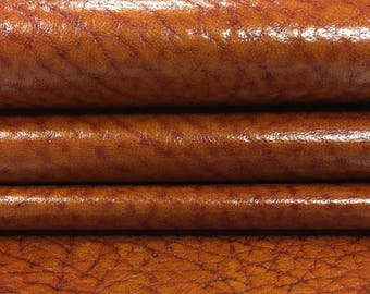 BROWN leather print fabric, brown textured leather, rusty leather fabric, leather pieces textured genuine leather GLAZED GINGER, 130, 0.6 mm