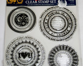 Circles 12 Piece Clear Rubber Stamp Set from Little Yellow Bicycle