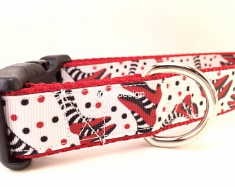 Dog Collar, Ruby Slippers, 1 inch wide, adjustable, quick release, medium, 15-22 inches