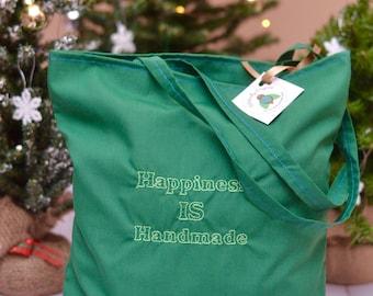Happiness is Handmade reusable grocery bag | market bag, reusable tote bag, eco friendly bag