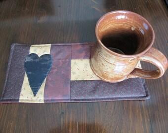 PRIMITIVE - HEART - Applique Quilted Mug Rug PDF E-Pattern