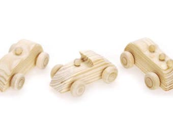 Miniature Dollhouse 3 pack of Unpainted Race Cars Wood Toys