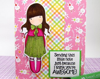 "Card - ""Sending this little note just because I think you're AWESOME!"" - Encouragement, Friendship"