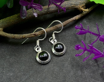 Natural Black Onyx Round Gemstone Drop Dangle Earring 925 Sterling Silver E353