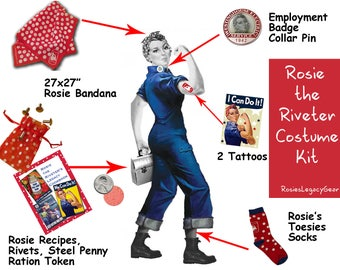 """ROSIE the RIVETER Costume Kit. """"We Can Do It!"""" WW2 Red and White Polkadot Rosie Accessories. Authentic. Retro Rosie Cosplay. Rockabilly"""