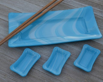 Fused Glass Sushi Plate Gift Set, Includes Plate, 3 Condiment Dishes and Reusable Bamboo Chopsticks