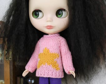Blythe doll Star Points Sweater knitting PATTERN - cute pullover style star sweater - instant download - permission to sell finished items