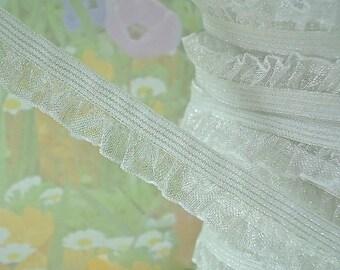 """3yds Stretch Ruffle Ribbon White Organza single side 1/2"""" inch Wide Elastic Trim diy wedding bridal Garter Elastic by the yard"""