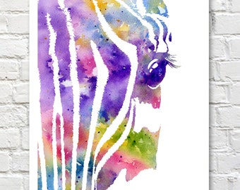 Zebra Art Print - Abstract Watercolor Painting - Wall Decor