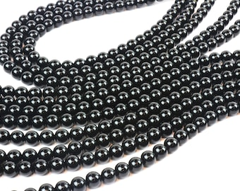 "A grade black onyx beads,gemstone beads,round beads,smooth beads,jewelry supplies,beads wholesale,black beads - 16"" Strand"