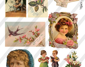 Digital Collage Sheet  Vintage Victorian Images  (Sheet no. O166) Ephemera-Instant Download