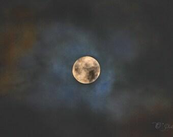 Pleine lune nuit Photographie 02-NewShopSale jaune bleu ciel nuage noir cadeau art mural décor salle de séjour au bureau de la maison 5 x 7 11 8 x 8 x 14 12x16